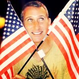 Adam Shankman posed with American flags. Source: Instagram user adamshankman