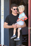 """Blurred Lines"" singer Robin Thicke took his adorable toddler son Julian out for breakfast in West Hollywood on July 2."