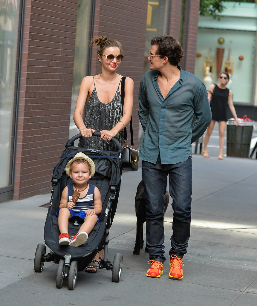 Miranda Kerr and Orlando Bloom took their cute son, Flynn, and one of their dogs for a walk around New York City on July 3.