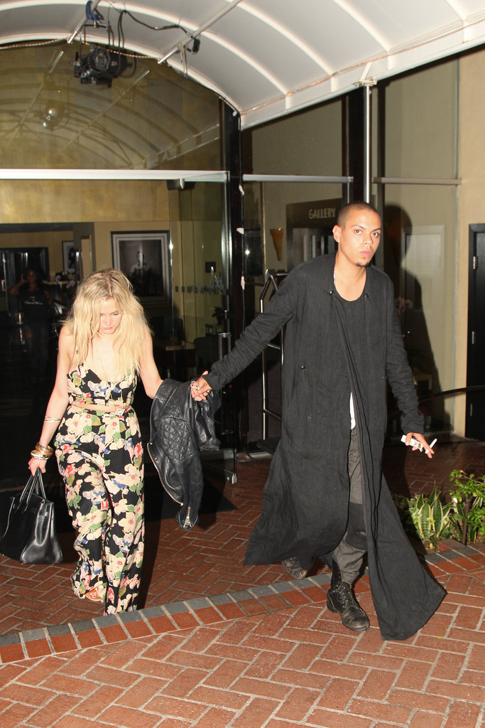 Ashlee Simpson and her rumoured new boyfriend Evan Ross (son of legendary Diana) held hands as they left the Sunset Marquis Hotel in LA after a night partying with friends on July 1.