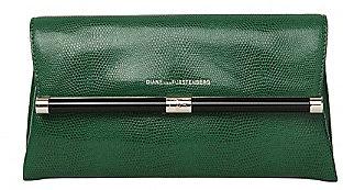 440 Envelope Embossed Lizard Clutch In Fern Green