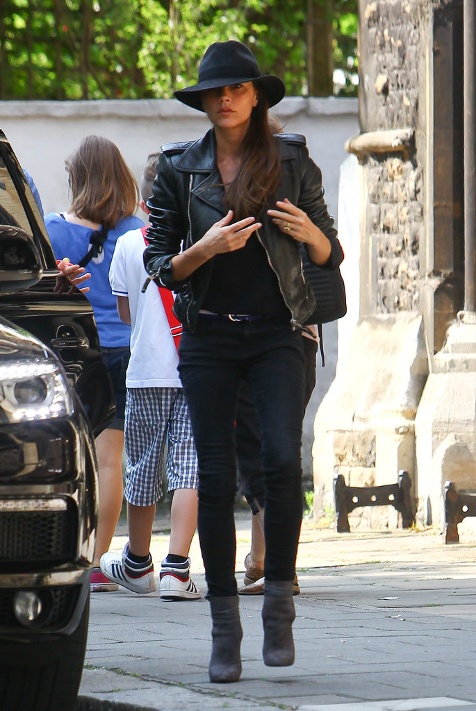 Victoria Beckham looked stylish in a leather jacket to run errands with Harper in London.