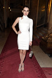 Emma Roberts accessorized a sexy one-shoulder Versace dress with nude extras at the Versace Haute Couture Fall 2013 show.