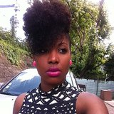 This fun, natural hairstyle paired perfectly with her bright pink lip. Source: Instagram user sadjyahcandy