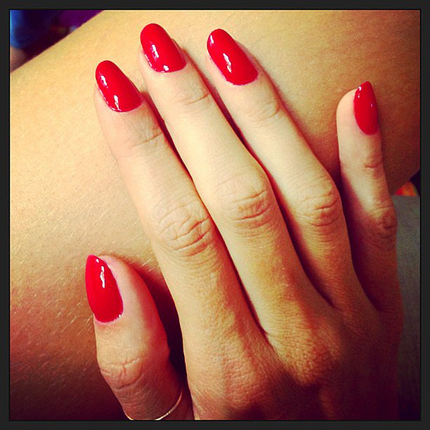 Alessandra Ambrosio got festive with her Fourth of July-inspired red manicure. Source: Instagram user alessandraambrosio