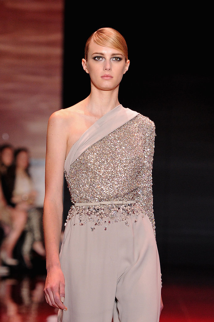 Asymmetry and sequins made for a dynamic duo at Elie Saab.