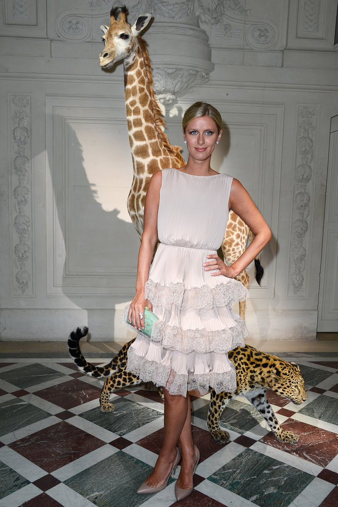 Nicky Hilton posed at the Valentino show during Haute Couture Fashion Week in Paris on Thursday.