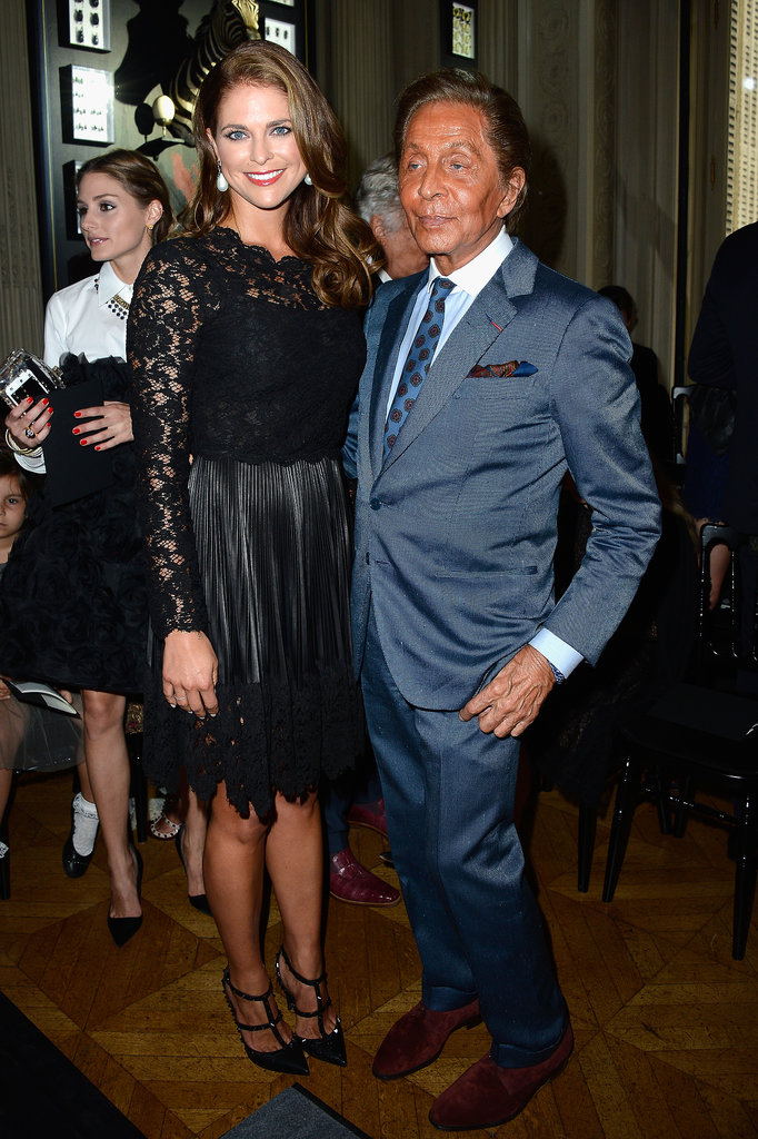 Princess Madeleine of Sweden posed with designer Valentino Garavani at the designer's Haute Couture show in Paris on Thursday.