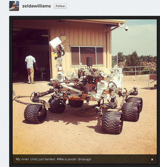 Actress Zelda Williams, daughter of Robin (and, yes, named after the video game) pays a visit to NASA's Jet Propulsion Laboratory.