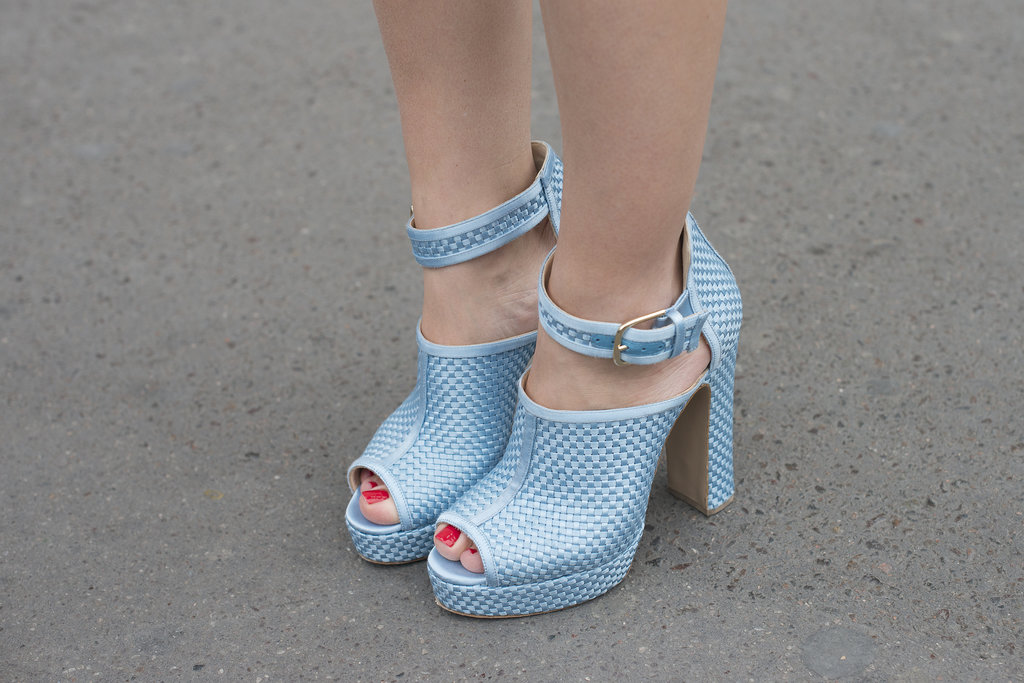 The peep-toe and periwinkle shade make for some standout heels.