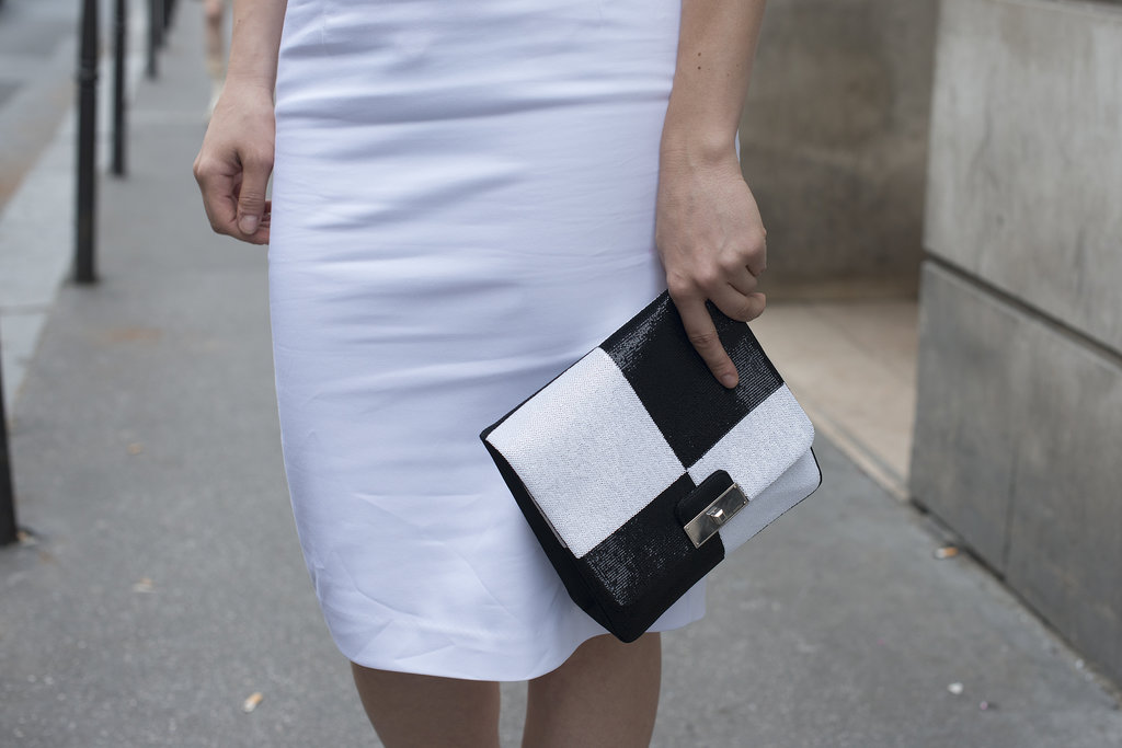 Black and white, and bold all over for this handheld clutch.