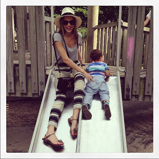 Miranda Kerr looked so happy — not to mention stylish — as she played around with her son Flynn. Source: Instagram user mirandakerr