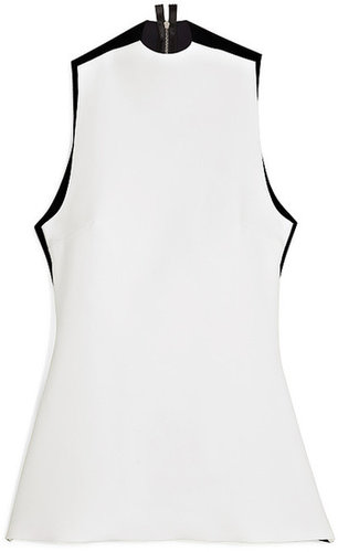 Josh Goot White And Black Body Con Contrast Cut Away Tank