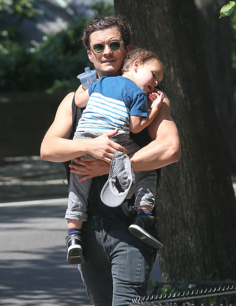 Flynn Bloom looked tired as his dad carried him home.