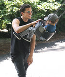 Orlando Bloom pushed Flynn Bloom on the swing in Central Park.
