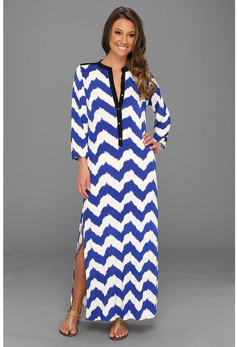 Tbags Los Angeles - Long Tunic Dress with Mandarin Collar (VA6 Print) - Apparel