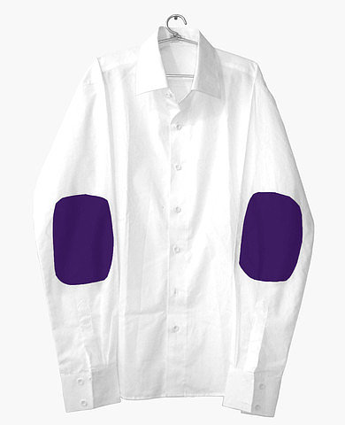 White shirt with Purple elbow patch