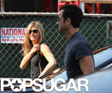 Jennifer Aniston ran errands with Justin Theroux in West Hollywood.