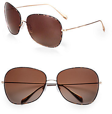 Oliver Peoples Elsie Oversized Round Sunglasses/Dark Tortoise