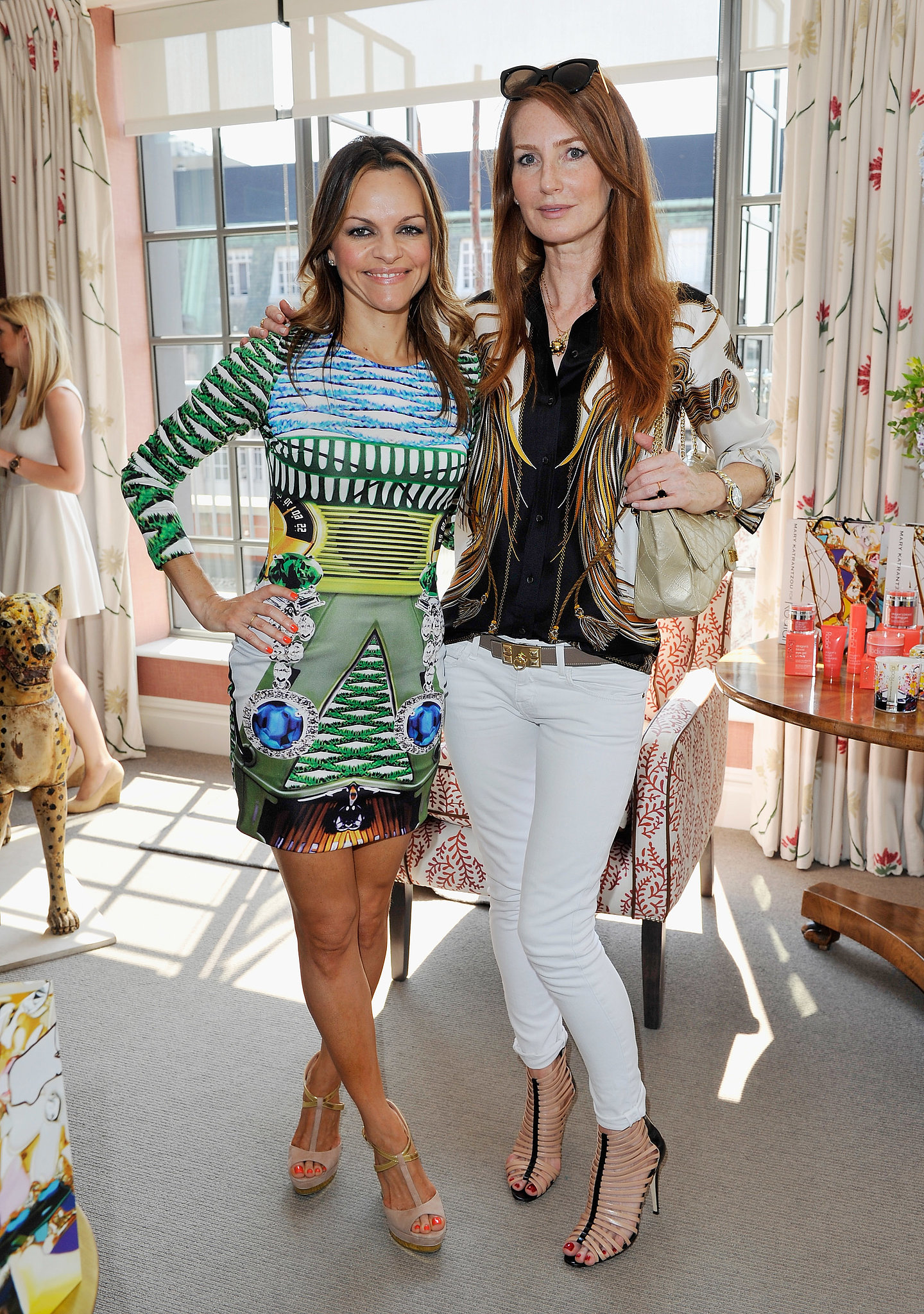 Maria Hatzistefanis and Angela Dunn Radcliffe joined Mary Katrantzou for tea at London's Soho Hotel.