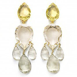 Bounkit Lemon Quartz Chandelier Earrings