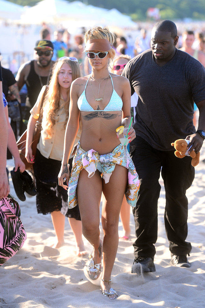 Rihanna walked through a beach in Sopot, Poland, in July 2013.