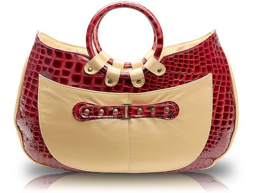 Javani  Ring Handle Tote Croco Cosmopolitan with Accent of Pearlized Gold