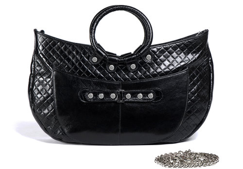 Javani  Ring Handle Tote Midnight Black Quilt with Accent of Smooth Lamba