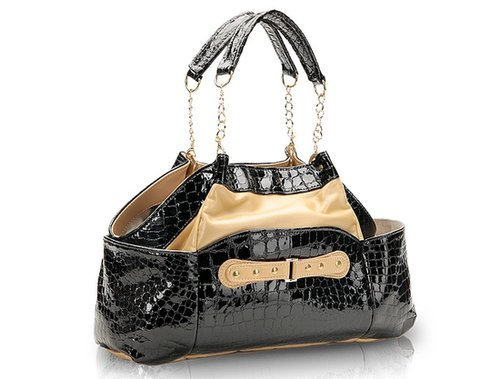 Priscilla Shoulder Chain Purse Croco Ebony with Accent of Pearlized Gold