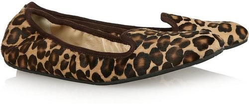 Oscar de la Renta Barbara leopard-print calf hair loafers