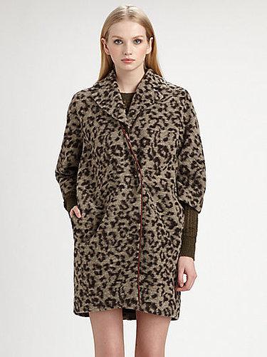 Thakoon Addition Leopard-Print Fleece Coat