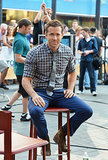 Ryan Reynolds sat down in the plaza for an interview.