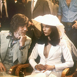 Bucking tradition and foregoing the wedding gown, Bianca Jagger looked Saint-Tropez-chic in a suit by Savile Row tailor Tommy Nutter when she married Mick Jagger in 1971.