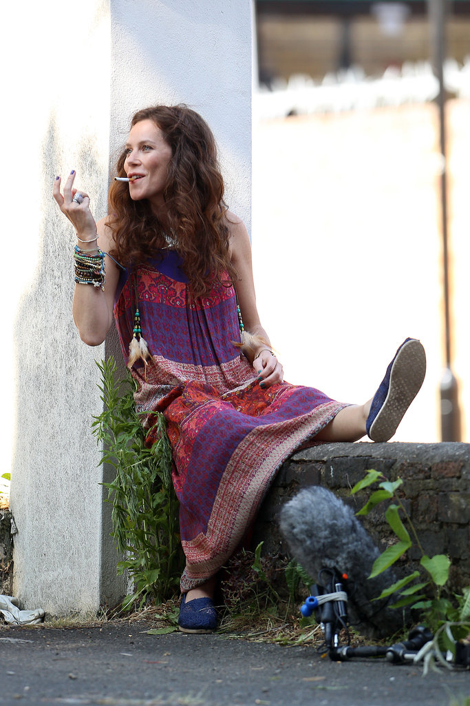 Anna Friel shot a scene for Good People in London on Tuesday.