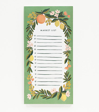 A magnetic backing makes this Citrus Floral Shopping Pad ($10) especially handy for keeping an ongoing grocery list that won't serve as an eyesore.