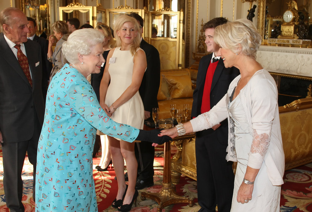 Queen Elizabeth met her Hollywood impersonator, Helen Mirren, in May 2009 at a performing arts reception at Buckingham Palace.