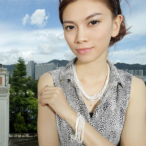 Multi Strand Crystal And Seed Beaded Necklace White