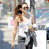Kristen Stewart in LA Wearing Sheer White Tank Top