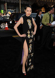At the Pacific Rim premiere, Rinko Kikuchi smoldered in a jeweled column.