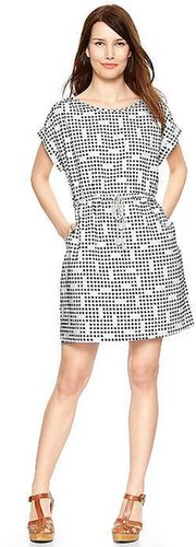 Dot print linen T-shirt dress