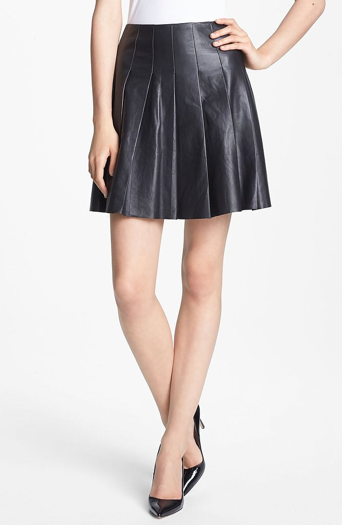 Who says a Pleated Leather Skirt ($595) couldn't be styled up to wear to the office?