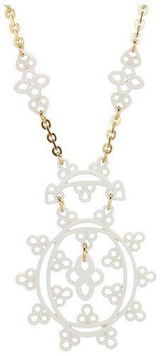 Jessica Simpson - Lacey 16 Enamel Drop Pendant Necklace (White/Gold) - Jewelry