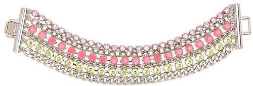 Jessica Simpson - Tropic Nights Rhinestone Bracelet (Fuchsia/Yellow/Crystal/Light Rhodium) - Jewelry