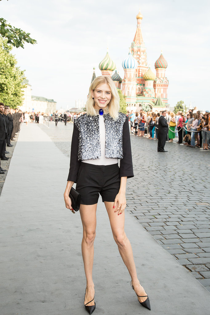 Elena Perminova took a more casual route in shorts for Dior's Moscow show.