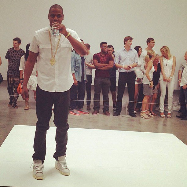 "Jay-Z took a water break while performing his song ""Picasso Baby"" at the Pace Gallery in NYC. Source: Instagram user mtv"