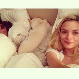 Pregnant Jaime King snapped a photo of her full bed. Source: Instagram user jaime_king