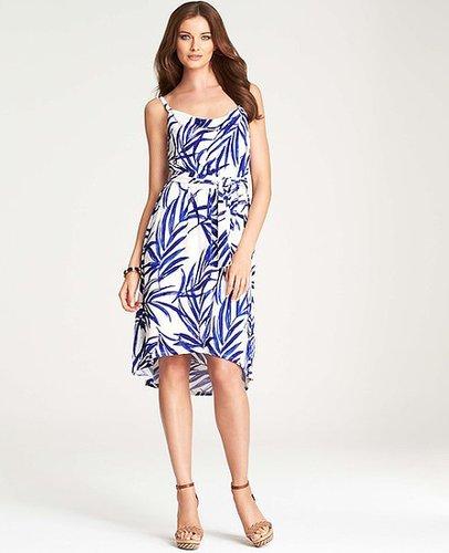 Painterly Palm Print Spaghetti Strap Dress