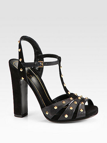 Gucci Jacquelyne Studded Leather and Suede Sandals