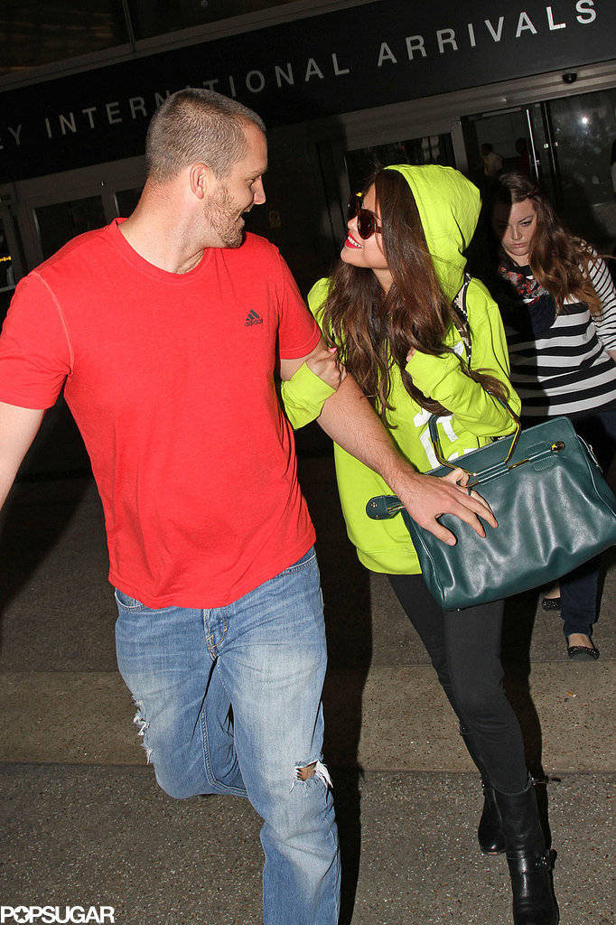 Selena Gomez smiled with her stepdad, Brian Teefey.