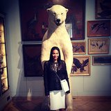 Reminded of her trip to the Arctic, the jewelry designer struck a pose with her furry friend. Source: Instagram user monique_pean